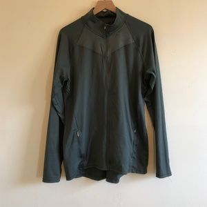 Olive Green Champion Long Line Athletic Zip Up
